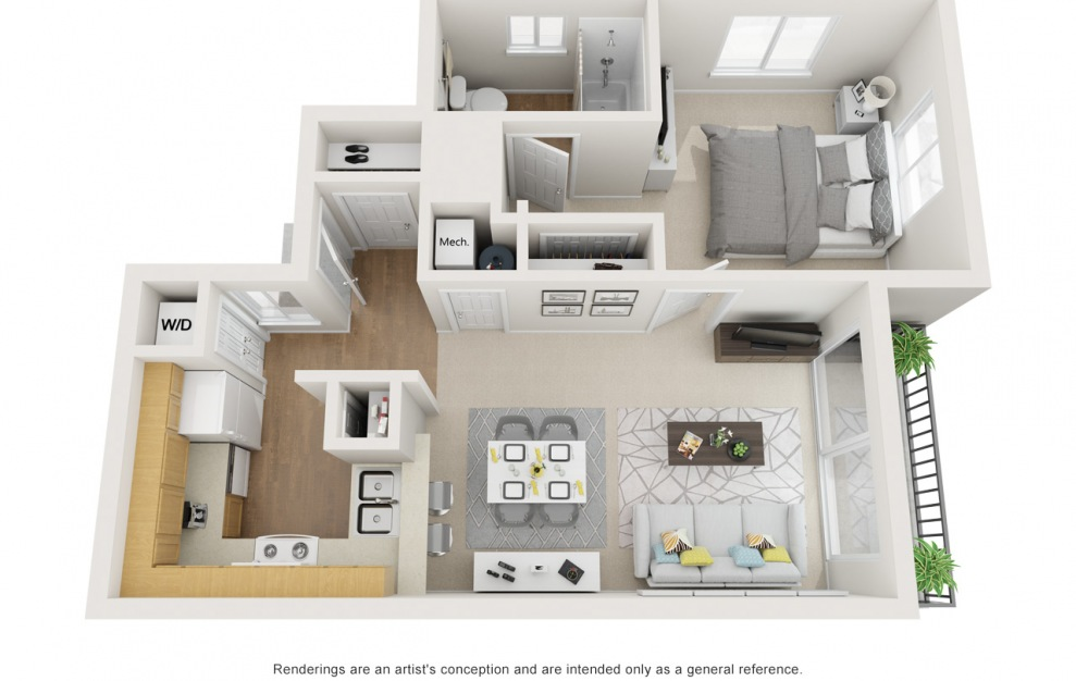 A - 1 bedroom floorplan layout with 1 bath and 620 square feet.