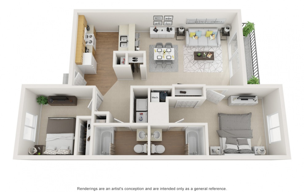 B - 2 bedroom floorplan layout with 2 baths and 925 square feet.