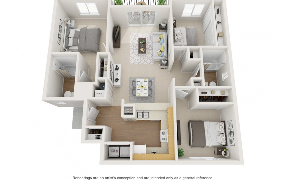 C - 3 bedroom floorplan layout with 2 baths and 1082 square feet.